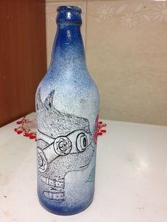 Meu desenho que fiz em uma garrafa, ficou massa
