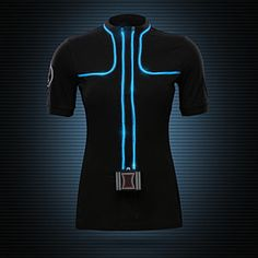 ThinkGeek's Avengers: Age of Ultron Black Widow Light-Up Shirt. At its most basic, it's a quarter-zip fitted tee with blue EL wire, an Avengers logo on right shoulder, and a Black-Widowed-out battery compartment at waist.