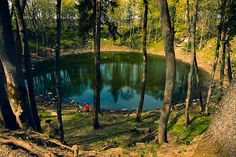 The Kaali Crater was created by a meteorite that reached the earth somewhere between the 4th and 8th century BC. Within a 1 kilometer radius of the main crater lie 8 smaller craters.  On the Estonian island of Saaremaa.