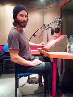 """WHAZZUP: """"What am I doing in a sound studio, you ask? Just working and hydrating, you know, the usual. Keanu Reeves John Wick, Keanu Charles Reeves, Chester Bennington, Good Looking Actors, Ben Stiller, Sound Studio, Denzel Washington, Attractive People, Tom Hardy"""