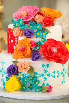 Love the cake! Mexican Fiesta via Kara's Party Ideas KarasPartyIdeas.com Tutorials, cake, decor, printables, desserts, and more! #mexicanfiesta #fiesta #latinbirthdayparty #karaspartyideas (23)