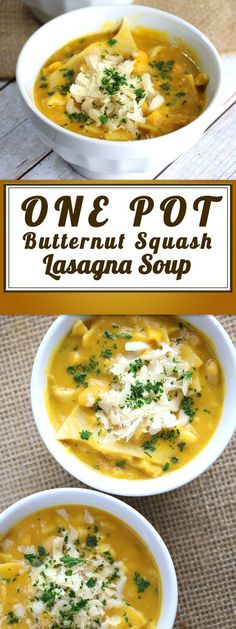 You'll love this One Pot Butternut Squash Soup. We're talking about a One Pot Butternut Squash LASAGNA Soup that is a comfort food favorite and perfect for chilly days. Cuddle up in a blanket and enjoy this tasty recipe.