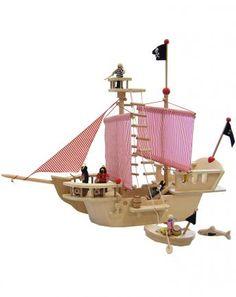 c7abf3e33464 Piratenschiff mit Zubeh r aus Holz 12-teilig Wooden Ship