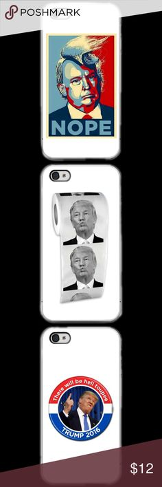"""TRUMP Comedy IPHONE 5c 5/5s 6/6s 6/6s+ 7/7+ LISTING IS FOR ONE CASE. YOU GET TO CHOOSE WHAT DESIGN YOU WANT. This a iPhone 5c 5/5s 6/6s 6/6s Plus 7/7 plus phone case. It is made of durable hard plastic. Easy snap-on design for a lightweight feel and great phone protection. PLEASE SPECIFY WHAT SIZE CASE AND PICTURE OF CASE. BEFORE YOU PURCHASE LET US KNOW WHAT SIZE AND PICTURE.  CafeCases- """"Where cases tell a story..."""" apple Accessories Phone Cases"""