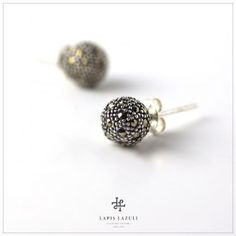 Marcasite stud earring in sterling silver. Gemstone Earrings, Stud Earrings, Marcasite, Gemstones, Sterling Silver, Jewelry, Jewlery, Gems, Jewerly