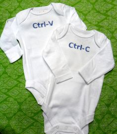 CtrlC and CtrlV Twin Onesie Set by BabyloveandKisses