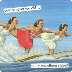 You're never too old to try something stupid. Vintage Collage Art by Anne Taintor.