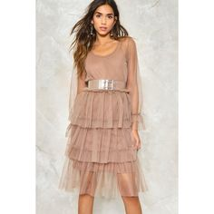 Nasty Gal Do I Make Myself Sheer Tiered Dress ($50) ❤ liked on Polyvore featuring dresses, taupe, fit-and-flare midi dresses, tiered ruffle dress, tiered dress, beige dress and flutter sleeve dress