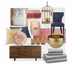 Gold Bedroom, Bedroom Decor, Bedroom Ideas, Master Bedroom, Master Bath, Navy Living Rooms, New Room, Home Decor Accessories, Girl Room