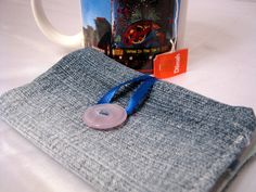 Tea Wallet Upcycle Denim and blue art deco cloth by 2CrochetHooks, $5.00