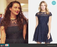Hannah's navy lace dress on 13 Reasons Why. Outfit Details: https://wornontv.net/70012/ #13ReasonsWhy