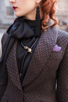 Tassels Earrings + Snake Necklace + Pocket Square