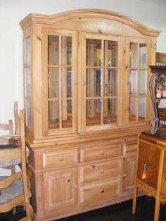 Pine Broyhill China Cabinet