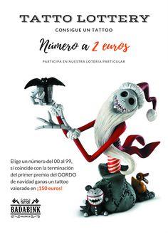 Tattoo Lottery. Sorteo de un tattoo valorado en 150 euros. Sólo por 2 euros la papeleta. + Info en el 666852293 (Whatsapp). Valencia.