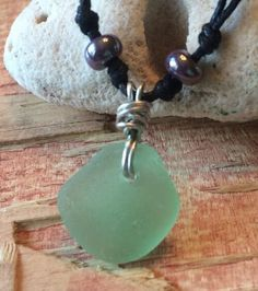 "Sea Glass Jewelry Necklace 20"" Cotton Handmade BEACH Bright Minty Green"