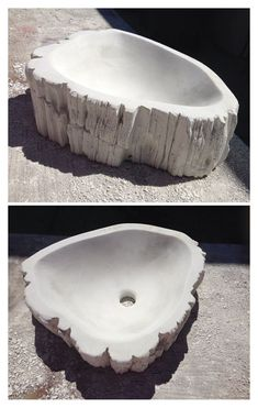 Concrete sink wooden petrified basin by StoneReflectionsSink