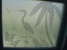 Frosted Glass Decals | Etched glass heron decals overlaid on solid frosted vinyl for total ...