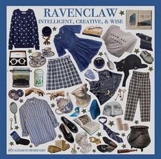 left side a whole mess, right side all looks Ravenclaw, Harry Potter Style, Harry Potter Outfits, Aesthetic Fashion, Aesthetic Clothes, Harry Potter Kleidung, Mode Grunge, Mein Style, Fandom Fashion