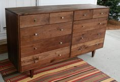 Hardwood 10 Drawer Dresser Inset Drawers by SolidCherryHeirlooms