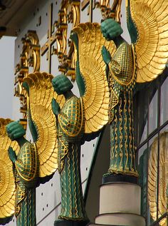 "balticavenue: "" Detail of the facade of Kirche am Steinhof, a church on the grounds of a psychiatric hospital (!) in Vienna. Designed by Otto Wagner, 1907 Angel Figures by Secessionist metal sculptor Othmar Schimkowitz Photo by kewing """