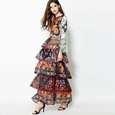 f4e30ad95d3d4 HIGH QUALITY New 2017 Fashion Designer Runway Maxi Dress Women's Flare  Sleeve Gorgeous Floral Print Cascading Ruffles Long Dress HIGH QUALITY New  2017 ...