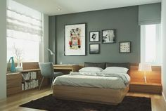 Framed Art Painting In A Modern Apartment Bedroom Design With Hardwood Floor And Grey Accent Wall
