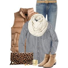 Love this combo!!  A fashion look from November 2014 featuring J.Crew tops, J.Crew vests and J Brand jeans. Browse and shop related looks.