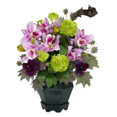 This nearly natural Silk Mixed Cattleya and Hydrangea Floral Arrangement features colorful artificial flowers in a lovely planter. Small Artificial Plants, Fake Plants, Artificial Flowers, Plants Indoor, Garden Plants, Hydrangea Arrangements, Artificial Flower Arrangements, Floral Centerpieces, Faux Flowers