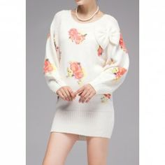 $15.74 Floral Print Refreshing Style Long Sleeves Acrylic Bow Tie Dress For Women