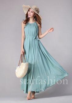 Elegant Large Circle Chiffon Sleeveless Evening Ball Gown Long Maxi Beach Dress | eBay