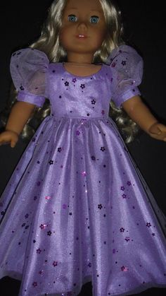 American Girl doll clothes  Purple Princess Gown  by susiestitchit