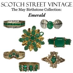 """Hard to believe we are talking about May but it will be here before you know it so I wanted to show off the Scotch Street Vintage Emerald Collection. Emeralds are known to bring luck and fortune and are treasured as one of the """"precious four"""" gemstones."""