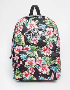 Vans Realm Backpack in Black Hawaiian Print