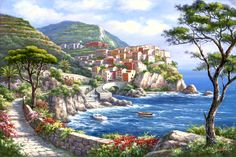 The Mediterranean Sea Seascape DIY Painting By Numbers Modern Home Wall Art Picture For Unique Gift Artwork Wall Decor Belle Image Nature, Beautiful Paintings Of Nature, Pintura Exterior, Desktop Background Images, Italy Painting, Italy Art, Fantasy Places, Korean Artist, Landscape Illustration