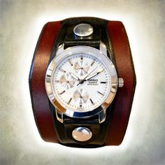 Men's Casio Leather Cuff Watch by CuffWatches on Etsy