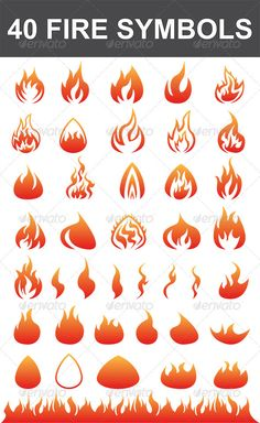 40 Fire Symbols - Decorative Vectors