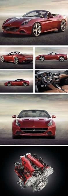 The Ferrari California was unveiled at the 2008 Paris Motor Show. The car went into production in 2008 and is still being produced by Ferrari. The car is available as a 2 door grand tourer coupe and as a hard top convertible. Maserati, Lamborghini, Bmw, Audi, Sexy Cars, Hot Cars, Rolls Royce, Nissan, New Ferrari
