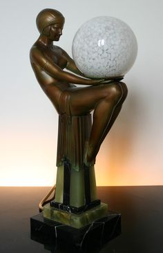 art deco spelter figure lamp