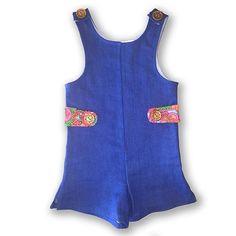 California Girl Romper! OOAK vintage inspired Children's Clothing. Stretch Denim.