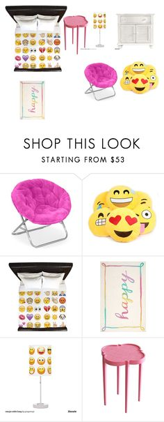 """""""Emoji bed room"""" by abbyperry123 ❤ liked on Polyvore featuring interior, interiors, interior design, Casa, home decor, interior decorating, PBteen, Oomph e Stanley Furniture"""