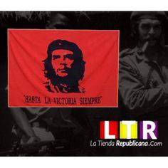 """Bandera Roja de Ernesto Che Guevara, con su rostro y la frase""""Hasta la Victoria siempre"""" . Dimensiones aproximadas 140X82.cm, buena calidad, material poliéster, peso aproximado 85 gramos."""