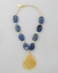 Perforated Teardrop Lapis Necklace by Devon Leigh at Neiman Marcus.