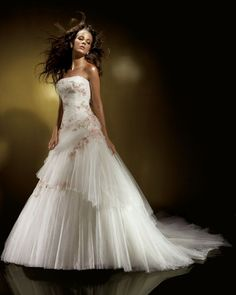 A-Line/Princess Strapless Chapel train tulle wedding dress for brides 2013 style