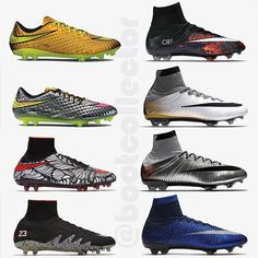 """NJR vs CR7? ---------------- All the fuss around the Jordan Neymar collab got me thinking about Nike's two biggest stars and their """"Signature"""" series. These 8 boots represent the latest 4 signature editions for @neymarjr (L) and @cristiano (R) - which is the best in your opinion? The Liquid Chrome HV1 are pretty special but for me the CR collection wins out (and there are way more of them...) ------- Be sure to follow me for more pics like this and more boots from my growing collection…"""