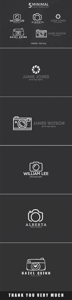 A great new collection of fresh mousemade minimal photography logos! Now you can get 5 minimal logo templates for absolutely free.