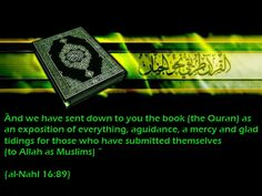 The is a guidance to humanity...  And (remember) the Day when We shall raise up from every nation a witness against them from amongst themselves. And We shall bring you (O Muhammad SAW) as a witness against these. And We have sent down to you the Book (the Quran) as an exposition of everything, a guidance, a mercy, and glad tidings for those who have submitted themselves (to Allah as Muslims).  [Surah Al-Nahl 16:89]