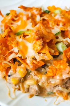 Doritos Casserole with Ground Beef is an easy dinner recipe the whole family will love. This hearty casserole is loaded with ground beef, cream cheese, corn, black beans, shredded cheese and topped with crumbled Doritos. Doritos Casserole, Beef Casserole Recipes, Ground Beef Casserole, Chicken Casserole, Cornbread Casserole, Hamburger Casserole, Noodle Casserole, Casserole Dishes, Hamburger Dishes