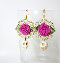 Dia De Los Muertos day of the dead sugar skull Pink Rose mexico jewelry Earrings boho Mexican gypsy earrings  by MissLizzyD, $13.00
