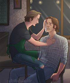 """((Open Sabriel Rp, Sam needed as well as Dean and Castiel. The art/pic isn't mine. I'm Gabriel)) I gently wipe Sam's face with a cloth and sigh """"What happened this time? Lgbt, Sam And Gabriel, Dean And Castiel, Sam Dean, Crowley, Supernatural Fan Art, Fanart, Sam Winchester, Winchester Brothers"""