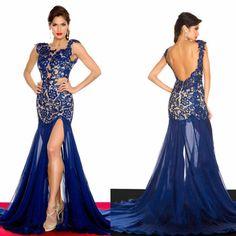 Sexy Long Royal Blue Lace Applique Cap Sleeve Split Backless Chapel Train Prom Dress